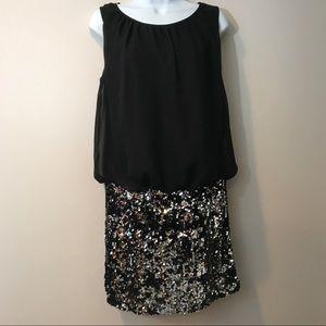 Adrianna Papell Black-Silver blouson dress size 8